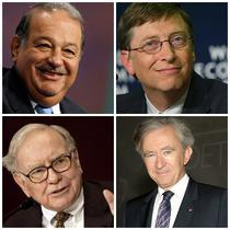 Carlos Slim, Bill Gates, Warren Buffett, Bernard Arnault