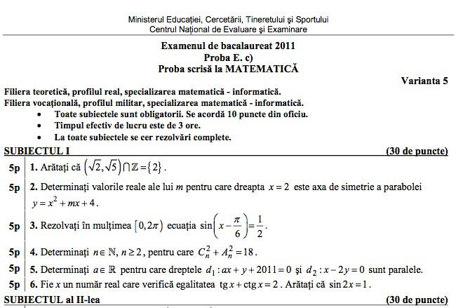 variante bac 2012 romana download free