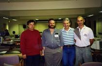 La workshop, Univ Stanford, SUA-E. Staicut impreuna cu instructorul Randy Bush, V. Papadopol (ICI) si V. Zelinski (CRI Chisinau), aug. 1993
