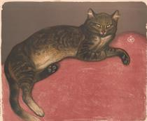 Winter: Cat on a Cushion, by Théophile-Alexandre Steinlen (1909) Metropolitan Museum of Art