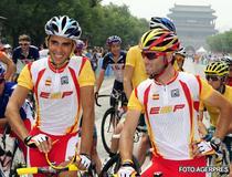 Contador, la startul cursei de la JO 2008.