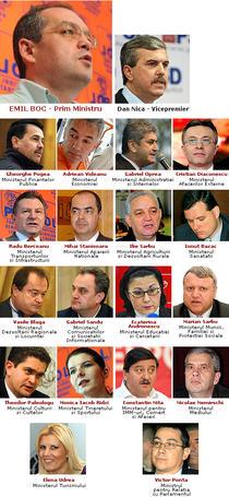 Nominalizatii pentru posturile ministeriale in guvernul condus de Emil Boc