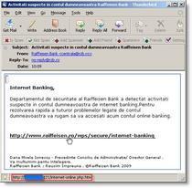 Phishing cu identitatea Raiffeisen Online