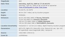 Informatii despre cutremur