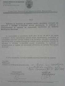Avizul Comisiei Juridice din PMB