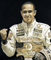 Lewis Hamilton Mobil 1 Oil Painting