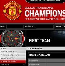 Pagina lui Casillas pe site-ul oficial al lui Manchester United