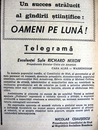 Telegrama adresata Excelentei Sale Richard Nixon de Nicolae Ceausescu, Scanteia