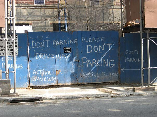 don't parking here!