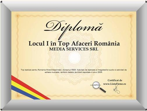 diploma Media Services - locul I