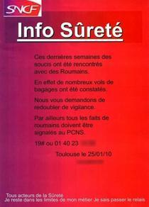 Afisul postat in trenul francez