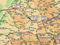 Autostrada Transilvania (cu rosu, tronsoane aflate in lucru)