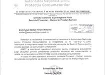 Adresa ANPC privind sanctiunea aplicata bancii