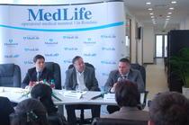dr. Nicolae Marcu (MedLife), Leo Gherghina (Societe Generale), Mihail Marcu (MedLife), lansare clinica Baneasa, 15 aprilie