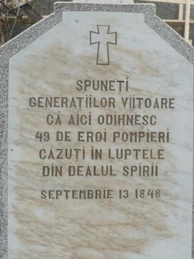 Mormantul pompierilor eroi in Dealu Spirii la 1848 (2)