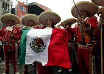 O trupa de mariachis saluta victoria Mexicului