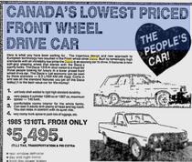 Asa incerca Dacia sa atraga clienti canadieni in 1985