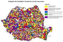 Harta categorii de localitati in functie de nivelul resurselor