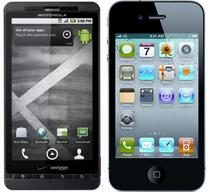Droid X si iPhone 4