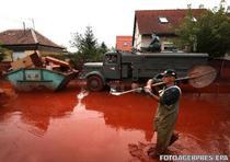 Un voluntar deplasandu-se prin raul de namol rosu din Devecser
