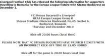 Liverpool despre meciul de la Bucuresti