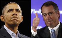 Obama (stg) a pierdut o batalie importanta. Victoria e a republicanului John Boehner(dr)