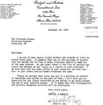 Scrisoarea din '74 a unui fan al Cleveland Browns