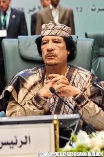 Muammar Gaddafi la o ceremonie a Ligii Arabe, 2010