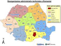 Reorganizarea Romaniei pe regiuni (varianta vehiculata in 2011)