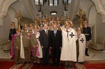 Traian Basescu, Regele Mihai si generali romani la Cotroceni in noiembrie 2005