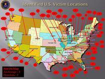 Harta numarului de victime pentru fiecare stat american in parte