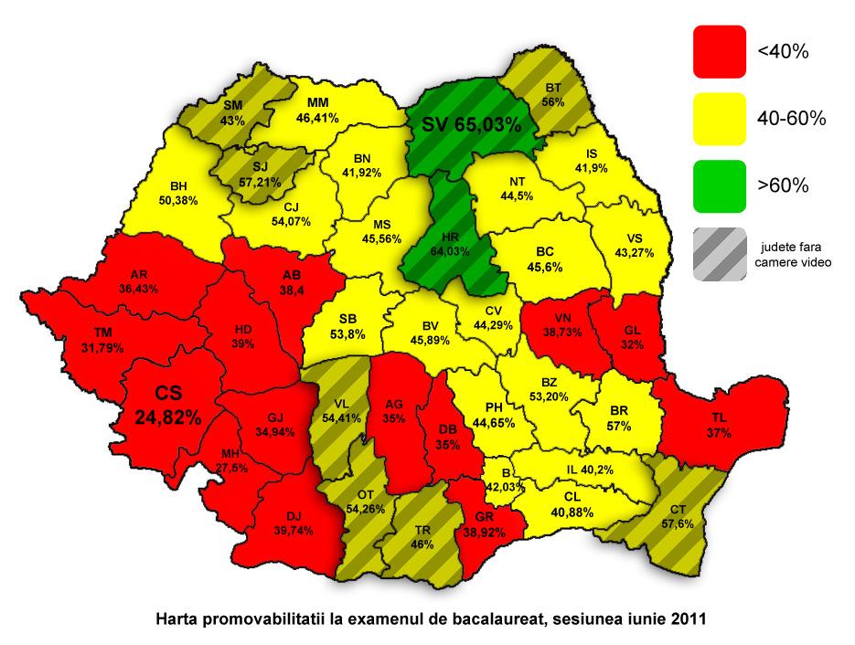 Harta Bac 2011 Rata De Promovabilitate La Bacalaureat Defalcata Pe