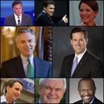 Romney, Perry, Bachmann, Huntsman Jr., Santorum, Pawlenty, Gingrich, Cain