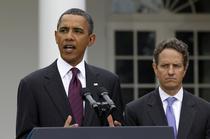 Barack Obama si Timothy Geithner