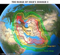 Raza de actiune a rachetelor iraniene Shabab-3