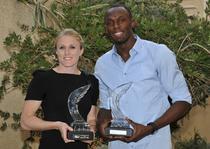 Sally Pearson si Usain Bolt