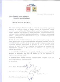 USL - Scrisoare Traian Basescu - 12.12.2011