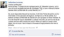 Mesajul postat de Lazaroiu pe Facebook