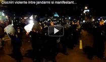 Lupte intre jandarmi si protestatarii violenti