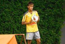 Neymar, in timpul unui antrenament al lui Santos