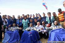 Astronautii Burbank, Shkaplerov si Ivanishin (de la stanga la dreapta)