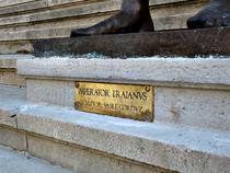 Statuia lui Traian, placuta cu numele