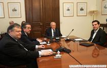 Evangelos Venizelos, Antonis Samaras, presedintele Karolos Papoulias si Alexis Tsipras (de la stanga la dreapta)