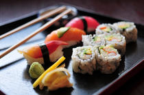 Sushi preparat cu wasabi