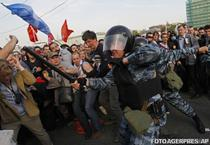 Protest anti-Putin inainte de investitura lui la Kremlin