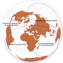 Harta vizibilitatii globale a tranzitului planetei Venus pe discul solar