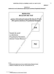 Buletinul de vot pentru referendum