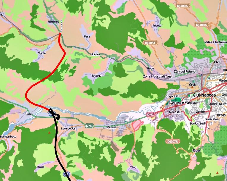 Tronson Autostrada Gilau - Nadaselu (cu rosu)