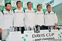Echipa Romaniei de Cupa Davis (st. la dr.): Florin Mergea, Horia Tecau, capitanul nejucator Ciprian Porumb, Marius Copil si Victor Crivoi