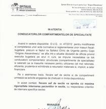 Adresa directorului Sp. Grigore Alexandrescu